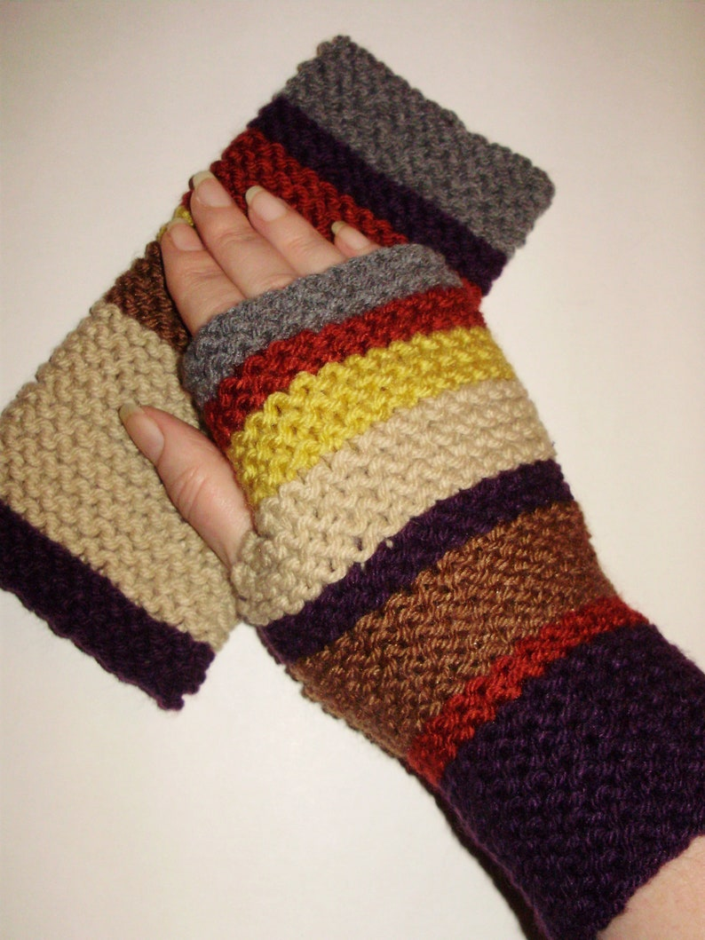 ACRYLIC Doctor Who Gloves Seasons 12-14 Hand Knit Fingerless Gloves Hand Warmers Wristlets 4th Doctor by Ashlee/'s Knits mitts texting