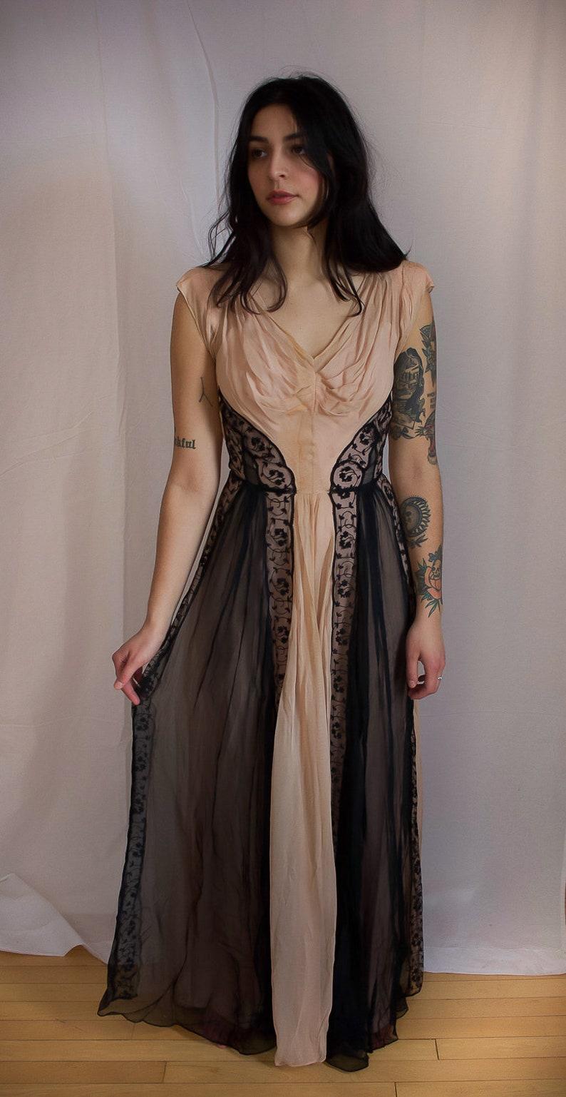 Edwardian Black and Blush Gown Antique Titanic Era