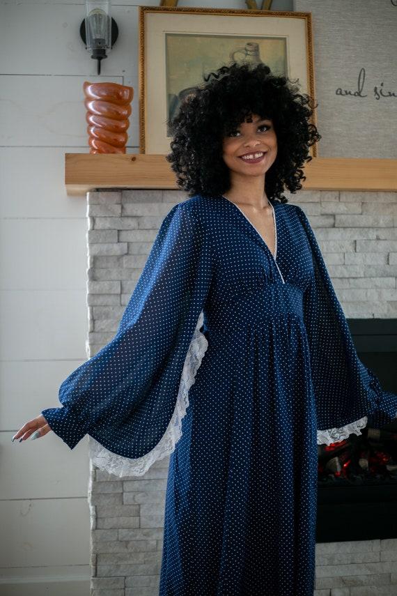 1970s Angel Wing Dress   Polka Dot   Puff Sleeves