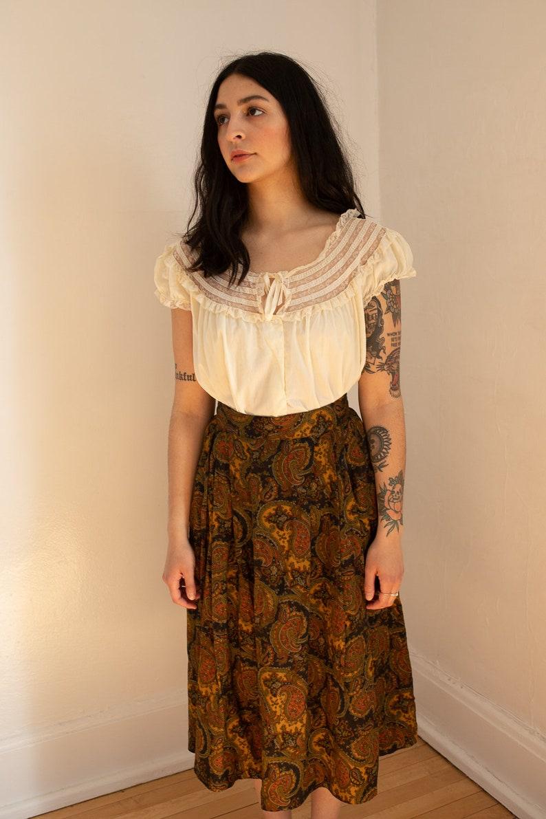 Midi Length Skirt Vintage Olive and Nutmeg 1970s Paisley n Olive Skirt