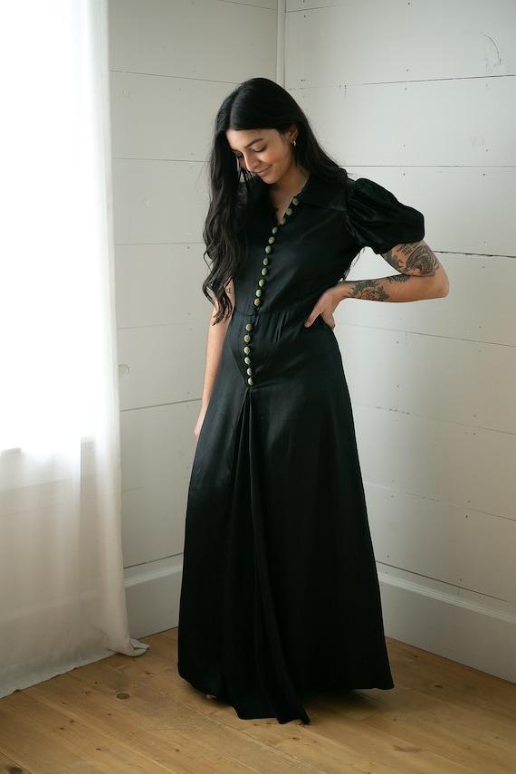 1930s Liquid Silk Dress | Black Slip Dress | Puff