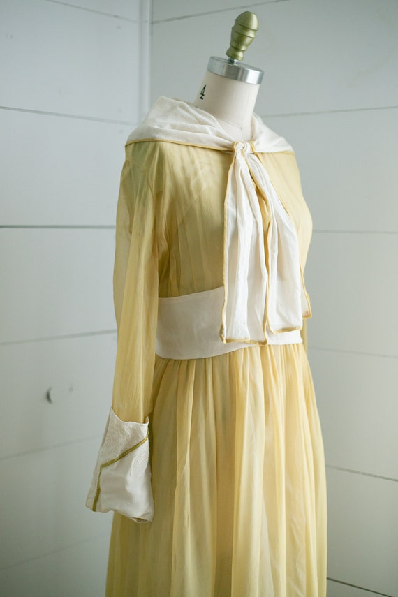 1900's Canary Yellow Embroidered Dress