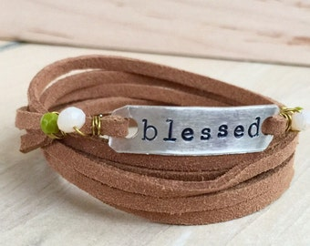 Blessed Brown Leather Wrap Bracelet / Silver Plate / Customizable