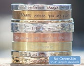 Personalized Cuff Bracelet in REAL Sterling Silver, Bronze, Copper, Brass, Bronze, Nickel, NuGold, or Aluminum