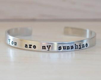 You Are My Sunshine Cuff Bracelet / Silver Cuff Bracelet / Sunshine Bracelet /New Mom Gift /New Mom Bracelet /Bangle Bracelet - Customizable