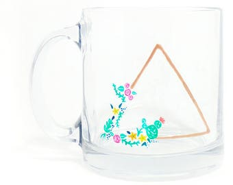 Hand Painted Glass Mug - GeoFlora - Multicolored Florals and a Golden Triangle on a Clear Glass Mug