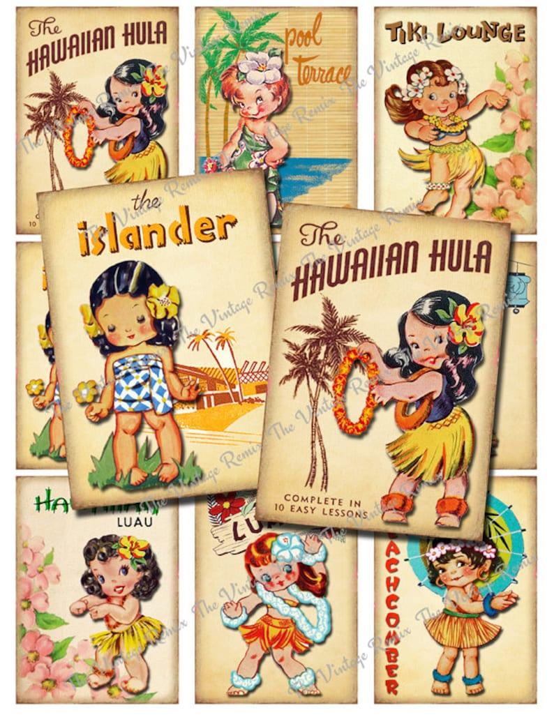 INSTANT DOWNLOAD Vintage Hula Girls Digital Collage Sheet image 0