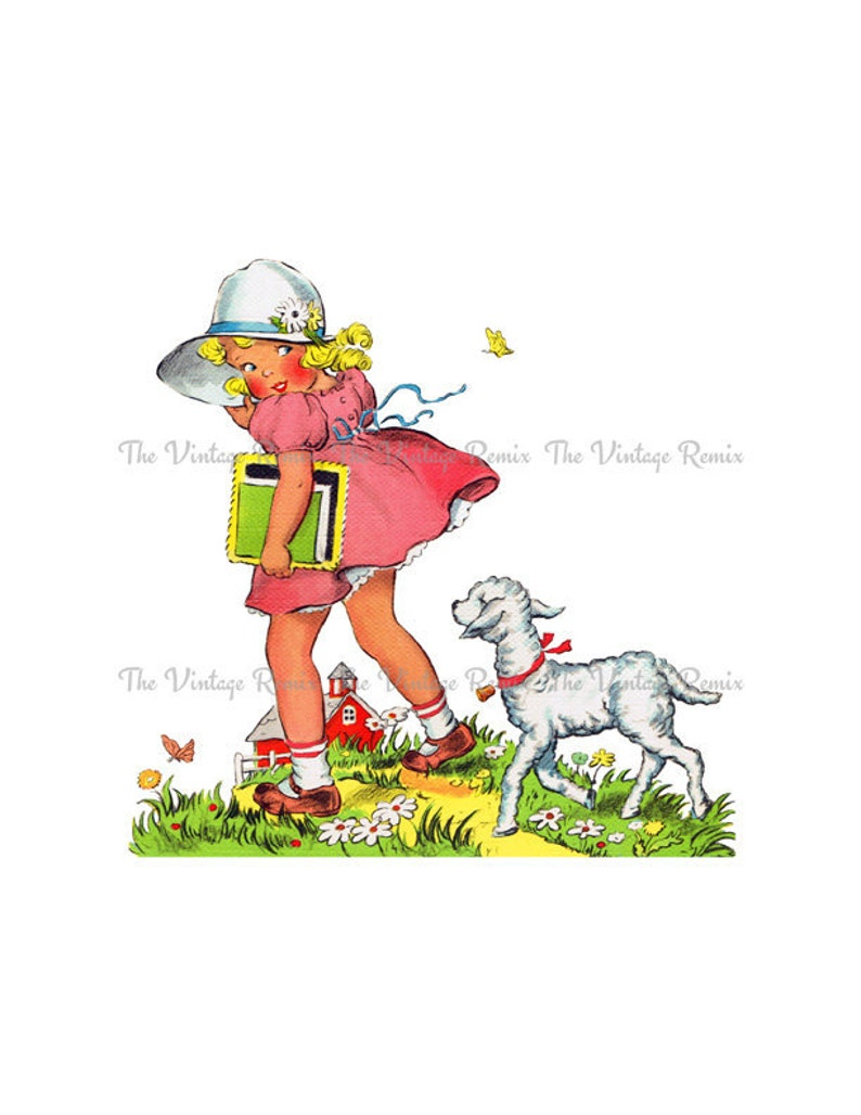 Mary Had a Little Lamb png and jpeg Printable Files Digital Vintage Illustration INSTANT DOWNLOAD Clip Art