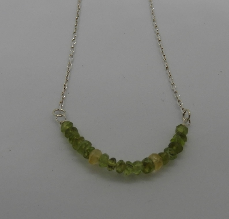 Sterling Silver Peridot necklace with Citrine accents August Birthstone