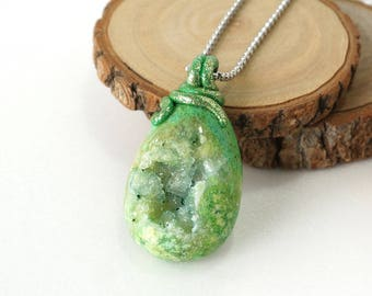 Big Green Druzy Crystal Necklace, Geode Pendant Stone Jewelry from Indonesia