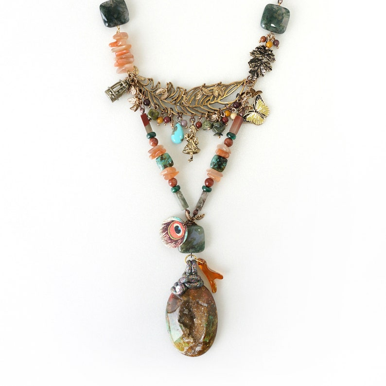 Crystals /& Charms Wearable Art Story Telling Necklace made of Indonesia Brown Druzy Geode Combination of Stones Walking in the Woods
