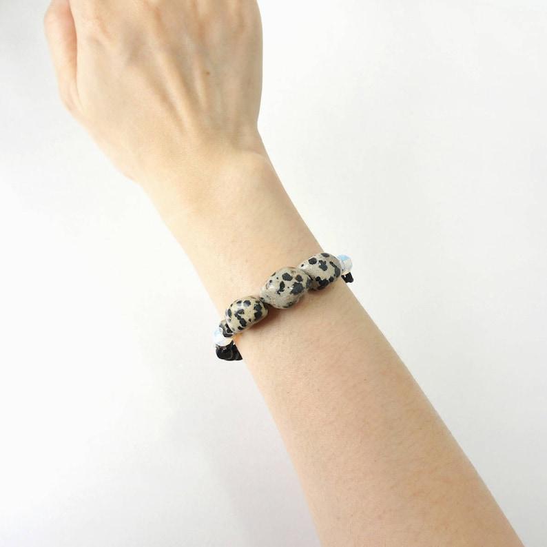 Black Spot Nugget Stone Statement Bracelet Unique Jewelry Dalmatian Stone Bracelet