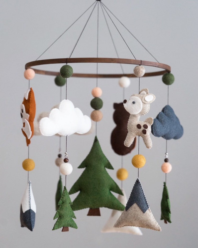 Deer Owl Decor Mountain Nursery DIY Forest Woodland Animals Mobile Kit Fawn Green Felt Mobile Fox Grey Boho Moon