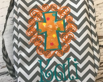 Monogrammed Chevron Bible Cover with Scroll Cross