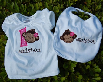 Monkey Birthday Appliqué shirt and Matching Bib