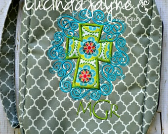 Monogrammed Quatrefoil Bible Cover with Scroll Cross