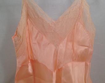 Vintage Lingerie Peach Lace Slip