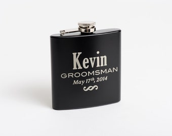 Personalized Groomsmen Gifts, Flask, Bridesmaid Flask, Engraved Best Man Gift, Etched Flasks, Pocket Flask