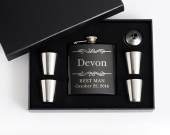 9, Engraved Best Man, Groomsmen Gift, Personalized Flask Sets, Customized flasks, Wedding Party, Personalized Gift, Bridal Party