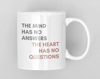 Inspirational mug, coffee mug quotes, Mind Has No Answers, Gift for entrepreneur, Motivational Coffee Cup, Encouragement gift, Buddha mug