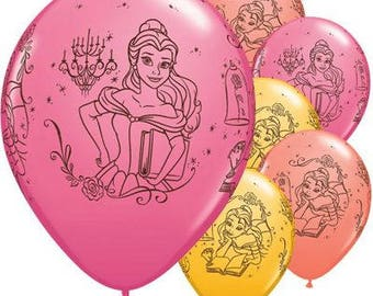 Belle Beauty And The Beast Balloons Disney Princess Party Girls Birthday Coral Rose Gold Supplies