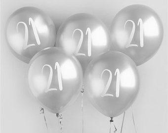 5 Silver 21st Birthday Balloons Twenty First Party Decorations Decor