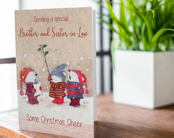 MODERN ~ BROTHER AND SISTER IN LAW CHRISTMAS CARD 4 DESIGNS 1ST P/&P
