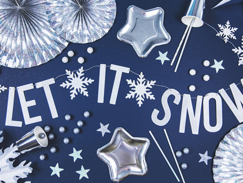 Let It Snow Hessian Christmas Bunting Christmas Home Decorations Party Gift