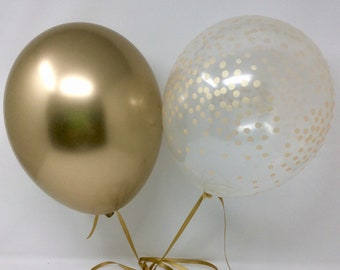solid Gold and Clear Gold Confetti Latex Balloons First Birthday Wedding Bridal Shower Birthday chrome Gold Balloons Gold Confetti Look