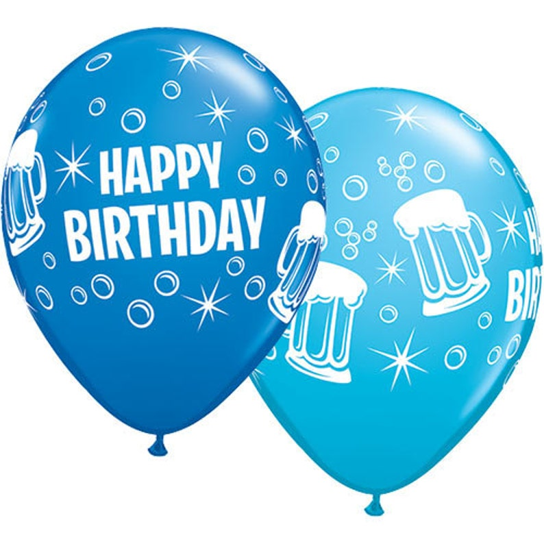 Blue Birthday Balloons Beer Mugs Photo Prop