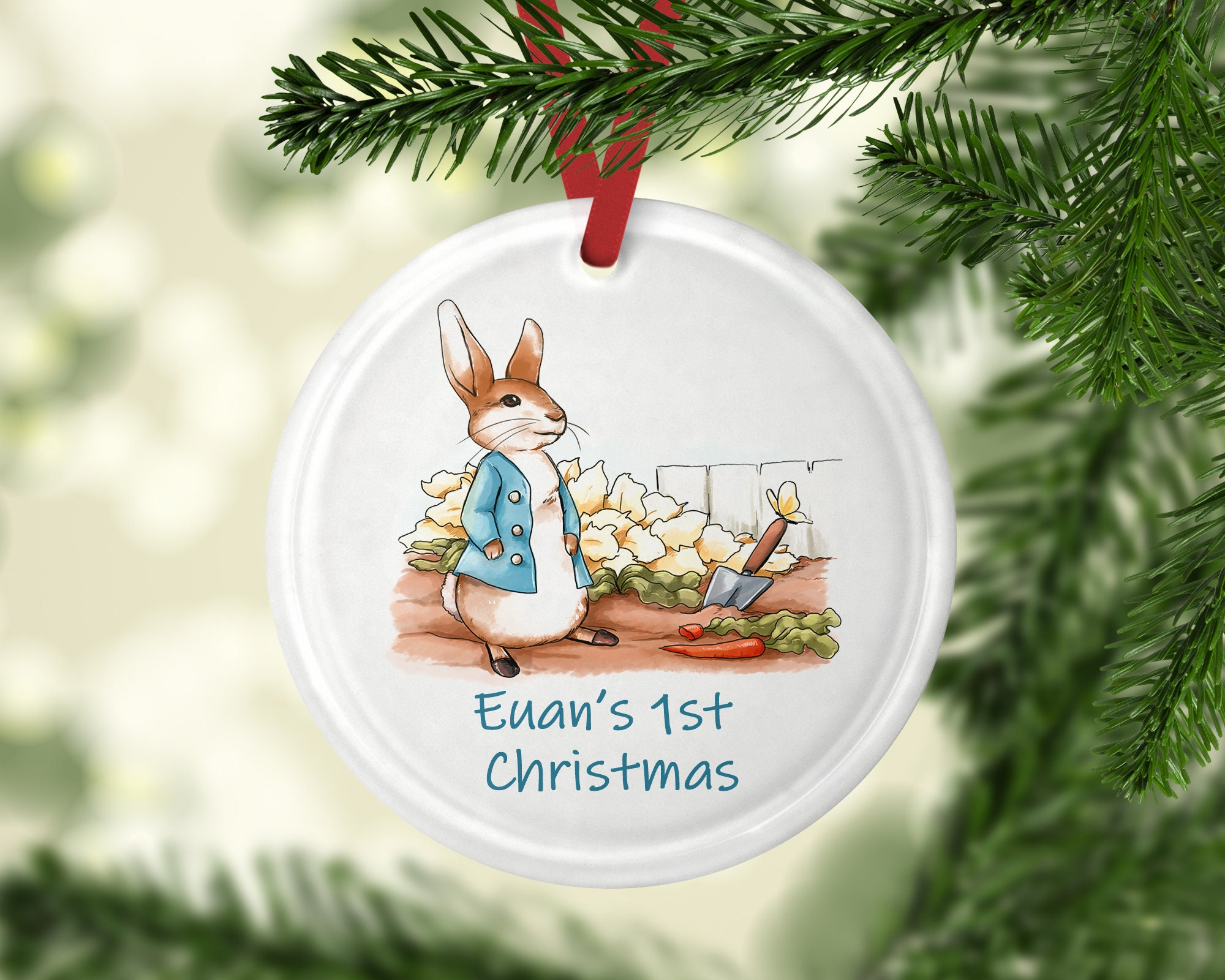 Babys 1st Christmas bauble Peter rabbit gift personalized | Etsy