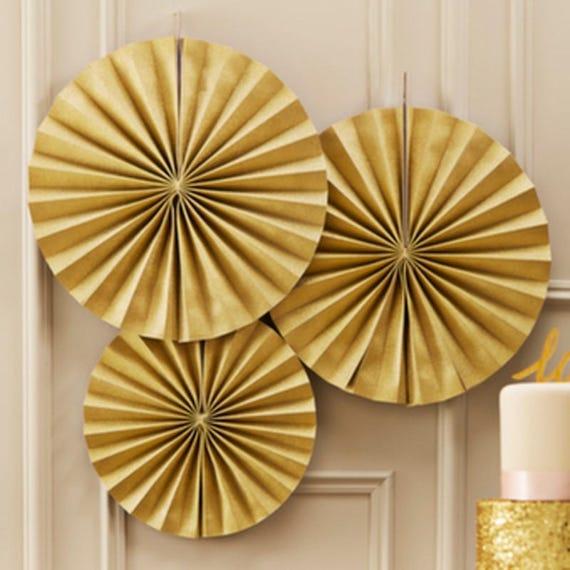 paper fans, gold paper fans, paper rosettes, wedding decor, baby shower, bridal shower, gold paper fan, pinwheel backdrop, party decor, baby