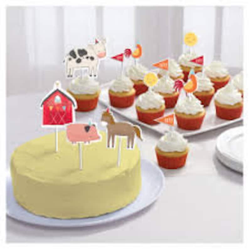 Barn yard birthday candles barn birthday animal cake toppers,