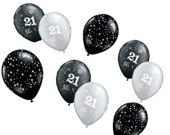 21st Birthday Decoration Balloons Black And Silver Theme Gift For Brother Milestone Surprise Party Supplies Twenty First