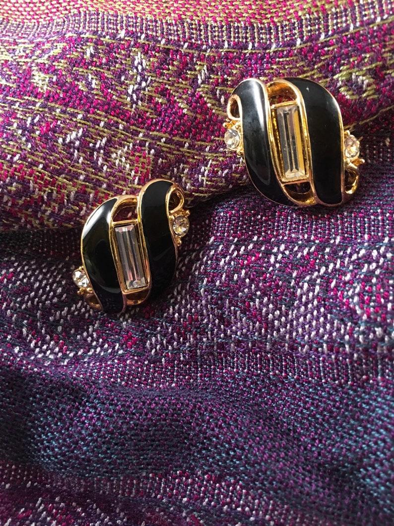 Black gold and rhinestone Trifari earrings