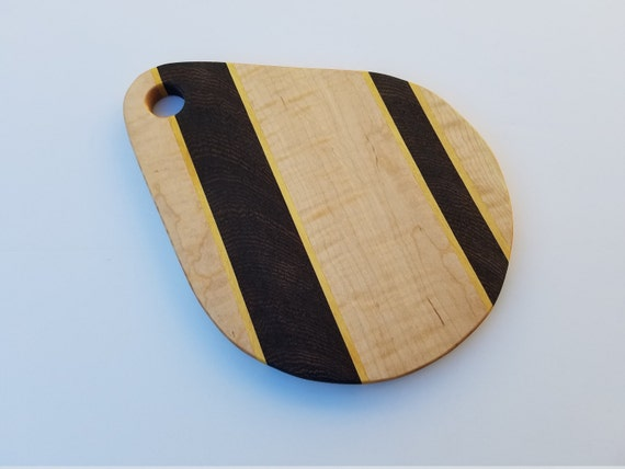 Teardrop Maple Cutting board, with Wenge and Yellow Heart