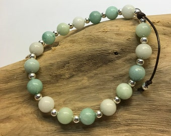 Amazonite and Silver Adjustable Corded Bracelet