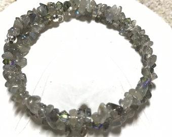 Labradorite and Swarovski Crystal memory wire bracelet