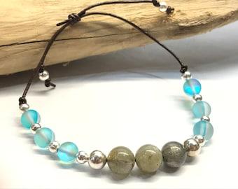 Labradorite, Silver and Mermaid Bead Cord Adjustable Bracelet