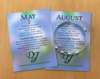 Birthstone adjustable memory wire bracelets With fun fact card