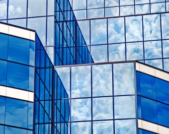 Abstract Photography, Urban Photography, Architectural Photo, Abstract Art Print, Blue Art, Grand Rapids Photography, Skyscraper Photo