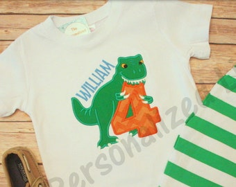 b499b796 Dinosaur Birthday Shirt - Personalized Applique Monogram T-Rex Birthday T- shirt tee Matching Set