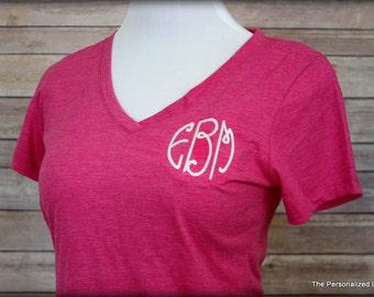 Monogrammed Womens V-Neck - Personalized Super Soft Boutique Ladies Cut Vneck T-shirt