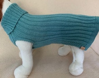 Ribbed Sweater - Small Dog /Medium Cat Sweater  - Can be Custom Knit in the Colour of Your Choice