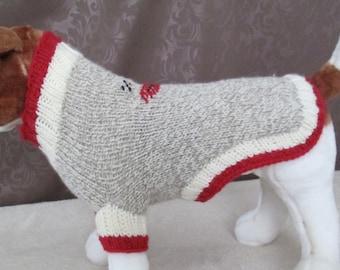 Custom Knit Dog Sock Monkey Sweater, Dog Sock Monkey Costume - SMALL