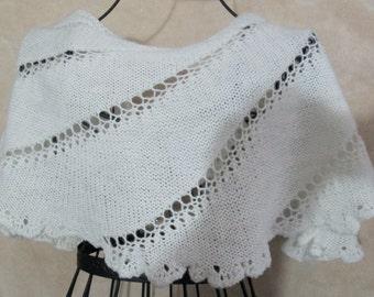 White Glitter Capelet, White Capelet, White Cape, White Wrap, Medium Capelet, Glitter Capelet, White Poncho