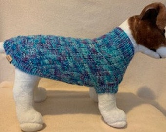 Weave Sweater - Small Dog /Large Cat Sweater  - Can be Custom Knit in the Colour of Your Choice