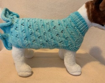 Ruffle Lace Sweater/Dress - Small Dog / Large Cat Size  - Can be Custom Knit in the Colour of Your Choice