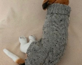 Cable Sweater - Small Dog /Medium Cat Sweater  - Can be Custom Knit in the Colour of Your Choice