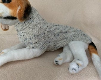 Classic Cable Dog Sweater - X-Small Dog / Small Cat Size  - Can be Custom Knit in the Colour of Your Choice